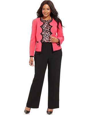 Kasper Plus Size Scallop-Trim Blazer, Printed Blouse & Straight-Leg Pants