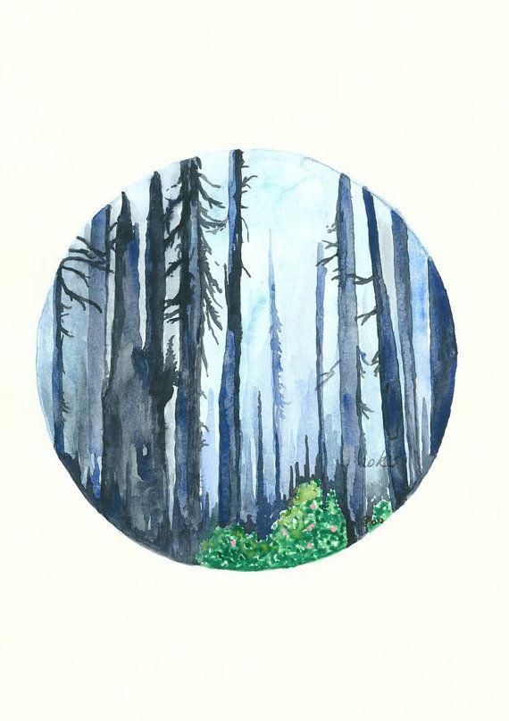 Bosque azul acuarela impresión del arte del bosque n º 3 por kroksg