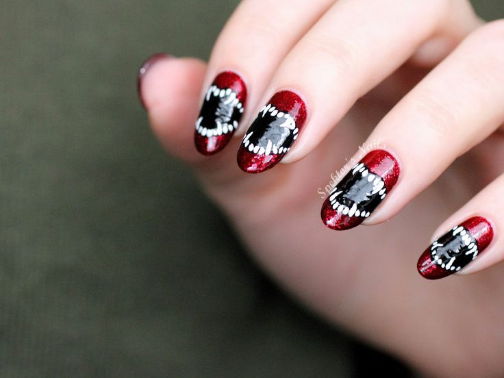 387 best holiday themed nails images on pinterest photos ps and loving these vampire teeth great halloween nail art llafterdark prinsesfo Choice Image