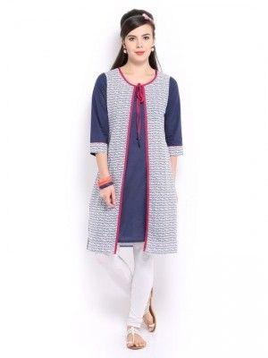 Mirage women blue kurta with jacket