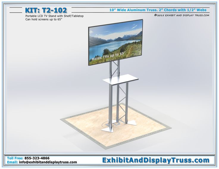 """T2-102 Portable LCD TV Monitor Stand that can hold monitors up to 65"""" at 130 lbs. This portable TV stand is perfect for display kiosks for showcasing digital product ads."""