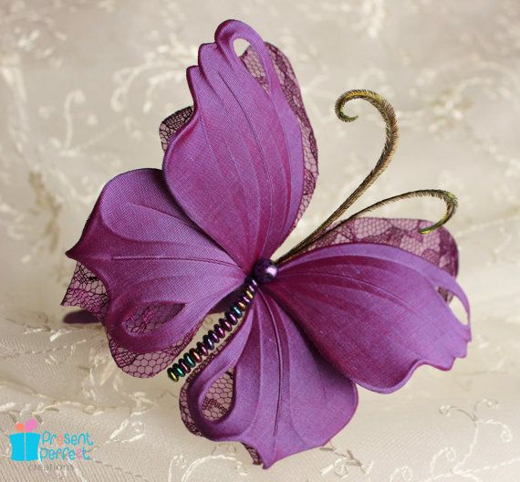 Butterfly fascinator purple wedding butterfly hair