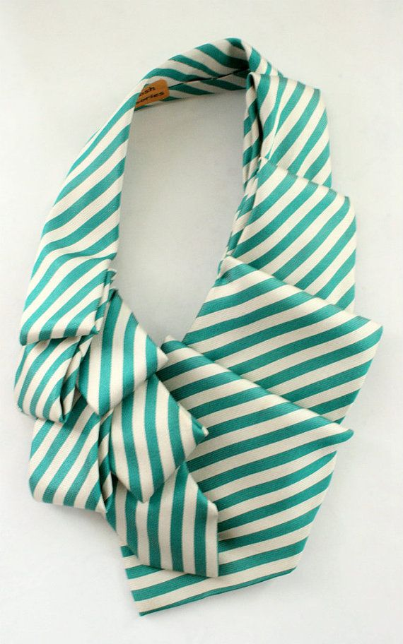 Womens Collar Scarf Neck Tie Green Stripes. by OgsploshAccessories