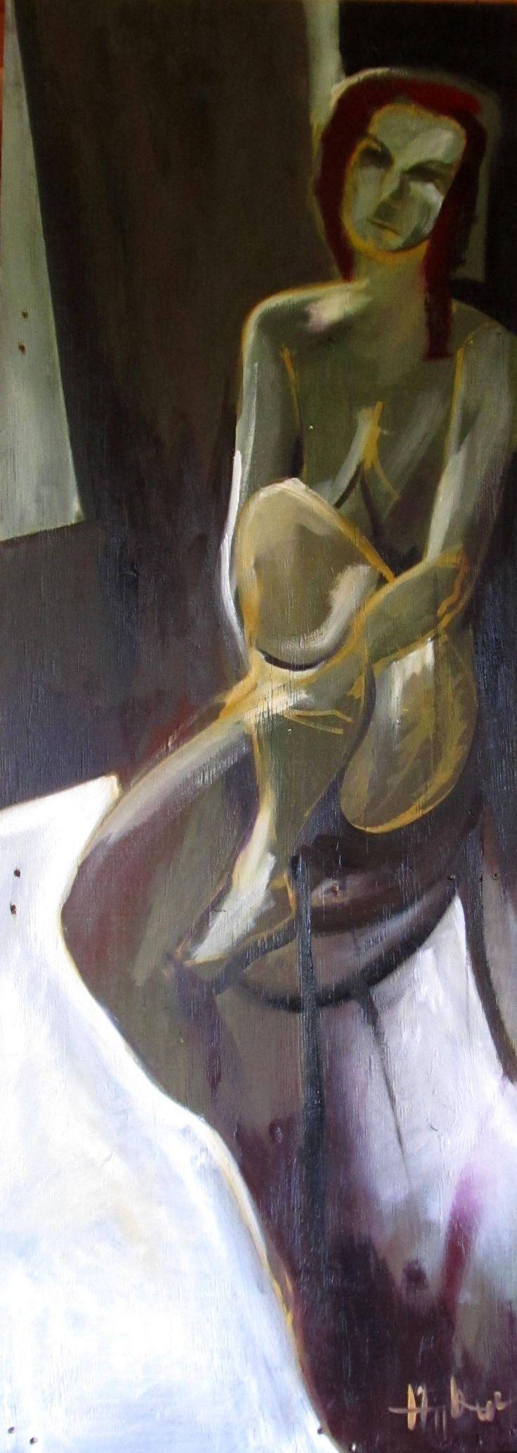 NUDE IN GREEN / AKT ZÖLDBEN  festmény, olaj, panel/ 154x55cm/ 2015
