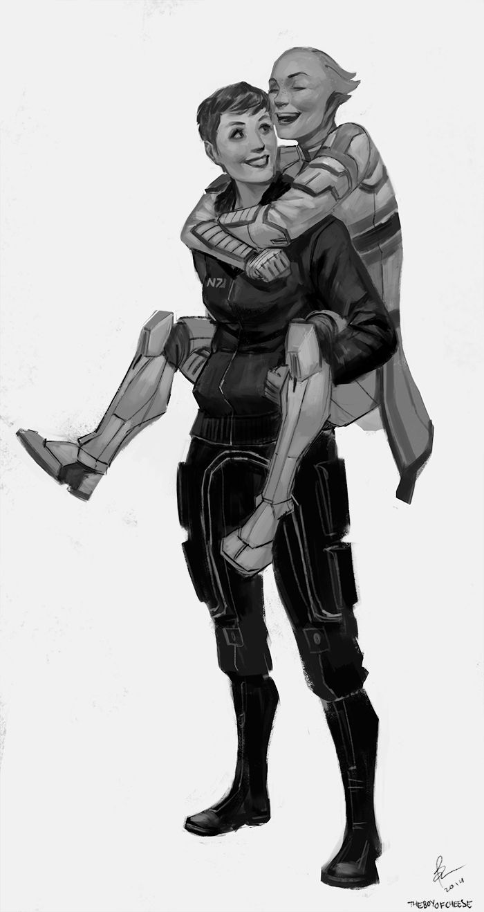 Credit: theboyofcheese: Commisioned by Kim B. to paint her Shepard having a cute lil' piggyback moment with Liara!