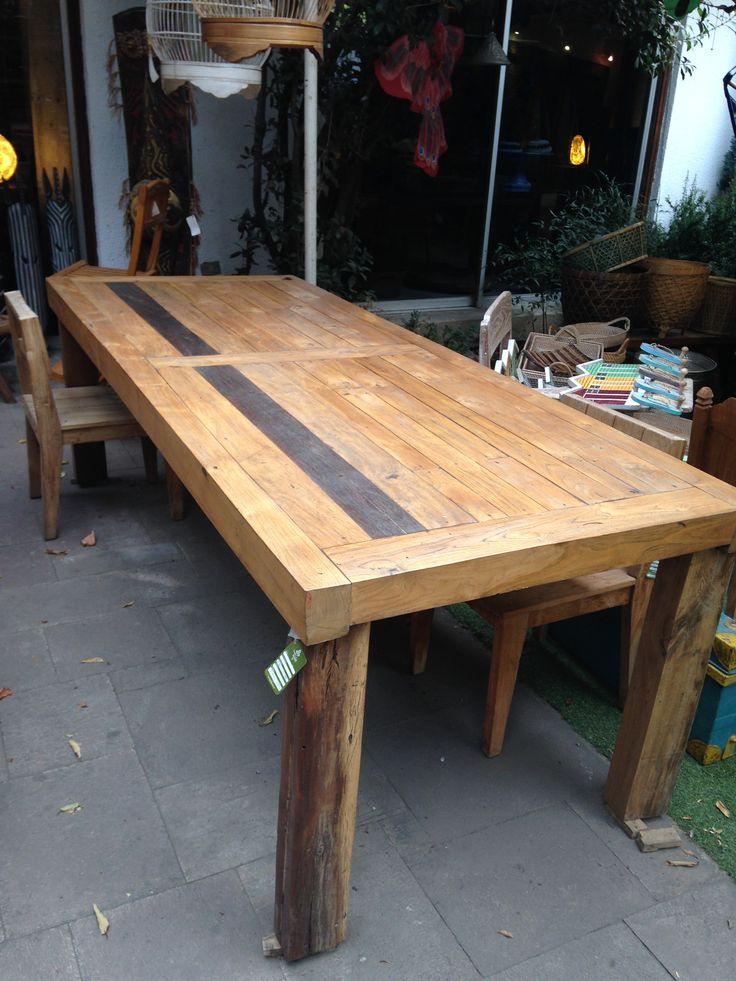 Comedor de tablas de madera de Teca reciclada