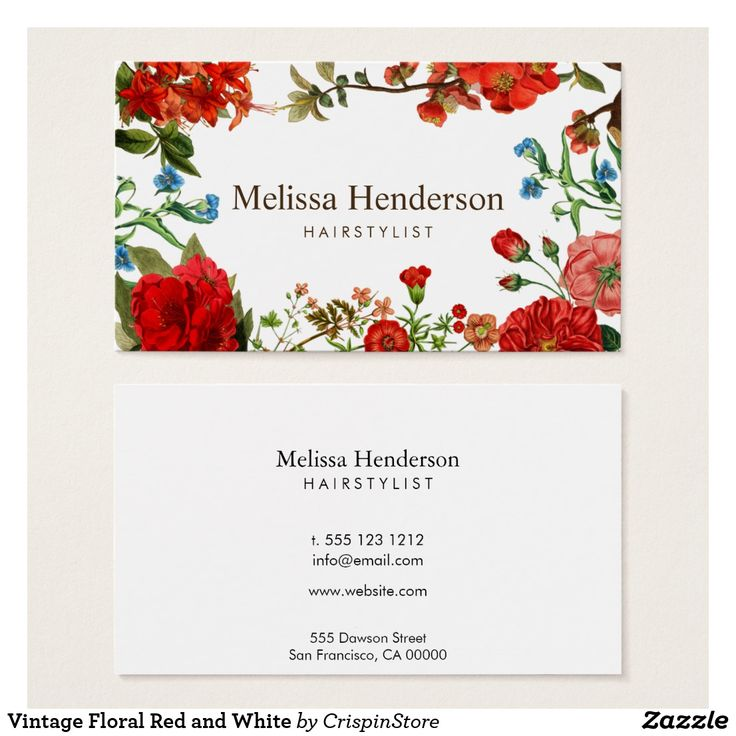 277 best chic business cards for networking images on pinterest vintage floral red and white business card reheart Images