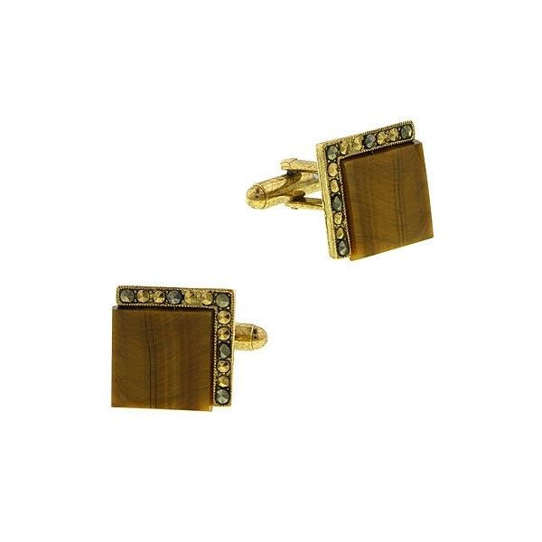 1928 Jewellery - Boxed Gold Tone Tigers Eye Square Cuff Links