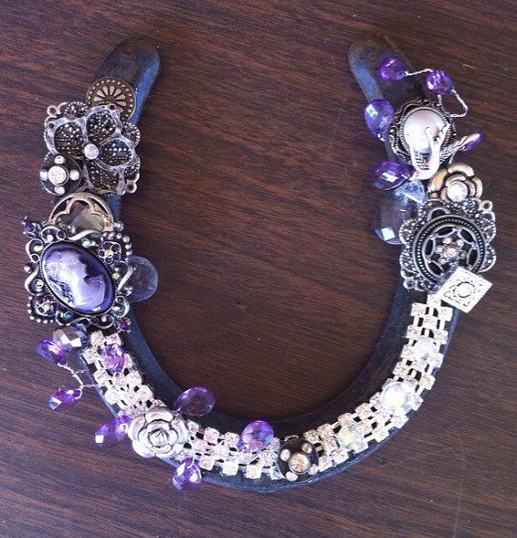 Decorated lucky horseshoe art by notyouraverageblonde on Etsy, $40.00