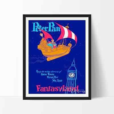 Vintage Disneylândia Peter Pan Mundo Da Fantasia Poster Repro não emoldurado 24 x 36 pol