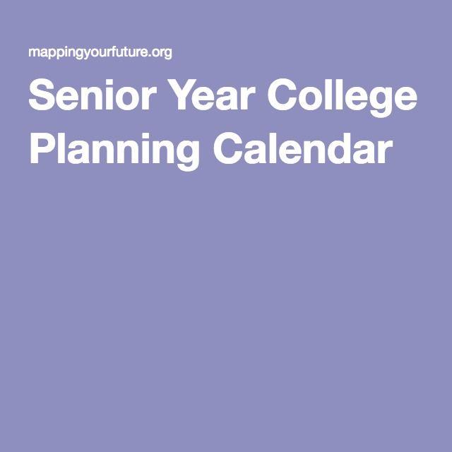 Senior Year College Planning Calendar