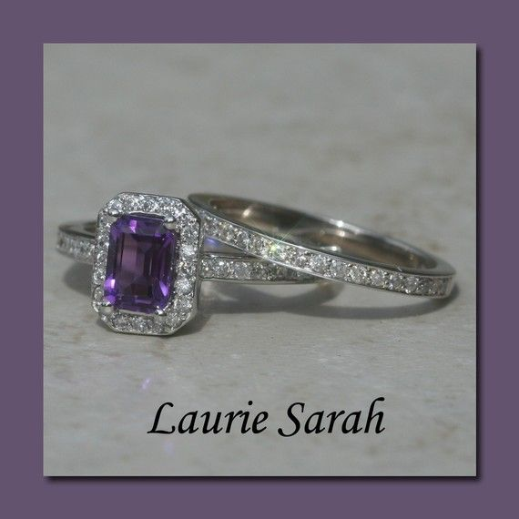 Exquisite amethyst diamond engagement ring. I want a purple diamond now!!!