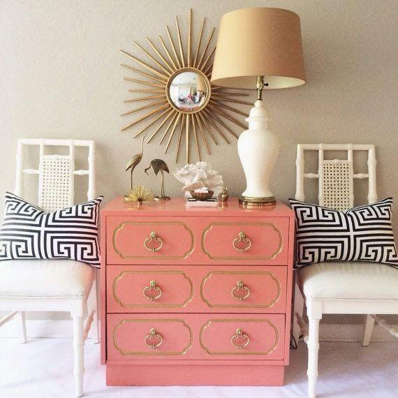 Hollywood Regency - Sunburst mirror, Greek Key pillows, faux bamboo chairs, Dorothy Draper style chest