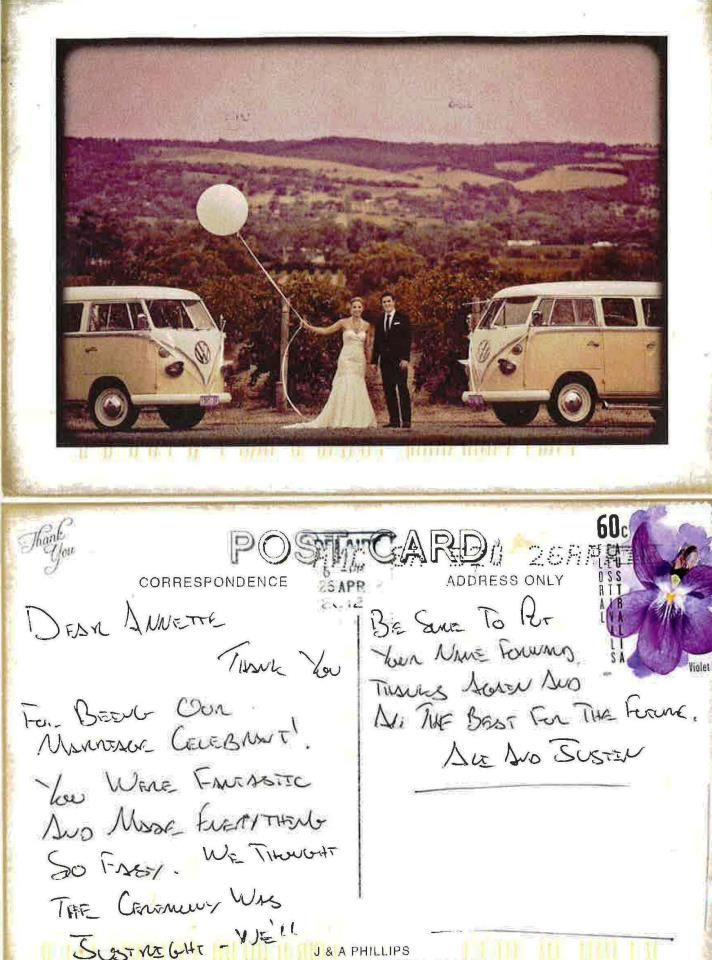 What a lovely thank you from my couple Mr & Mrs Alison & Justin Phillips, married March 2012 at Penny's Hill Winery. So vintage! — at Penny's Hill - Mclaren Vale.