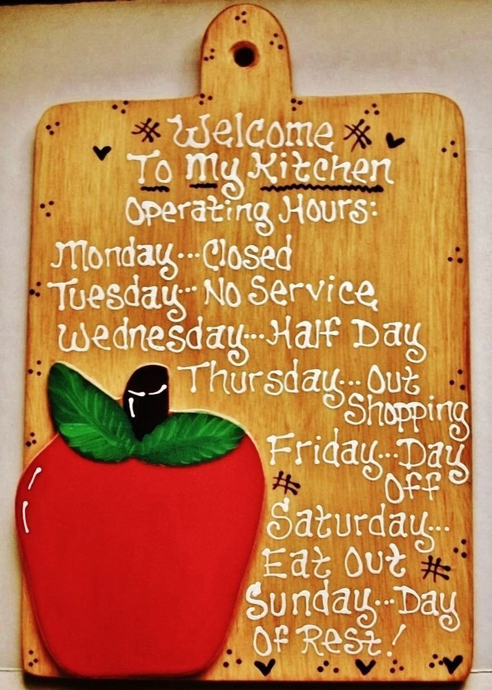 APPLE Kitchen Operating Hours SIGN Fruit Plaque Handcrafted Country Decor  #HandcraftedbyMILLERFAMILYWOODCRAFTS #KitchenSign