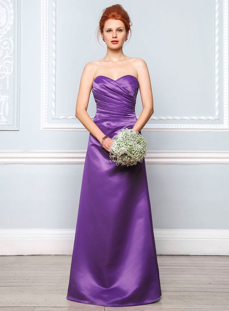 Violetta purple satin bridesmaid dress wedding sale for Wedding dresses with purple trim