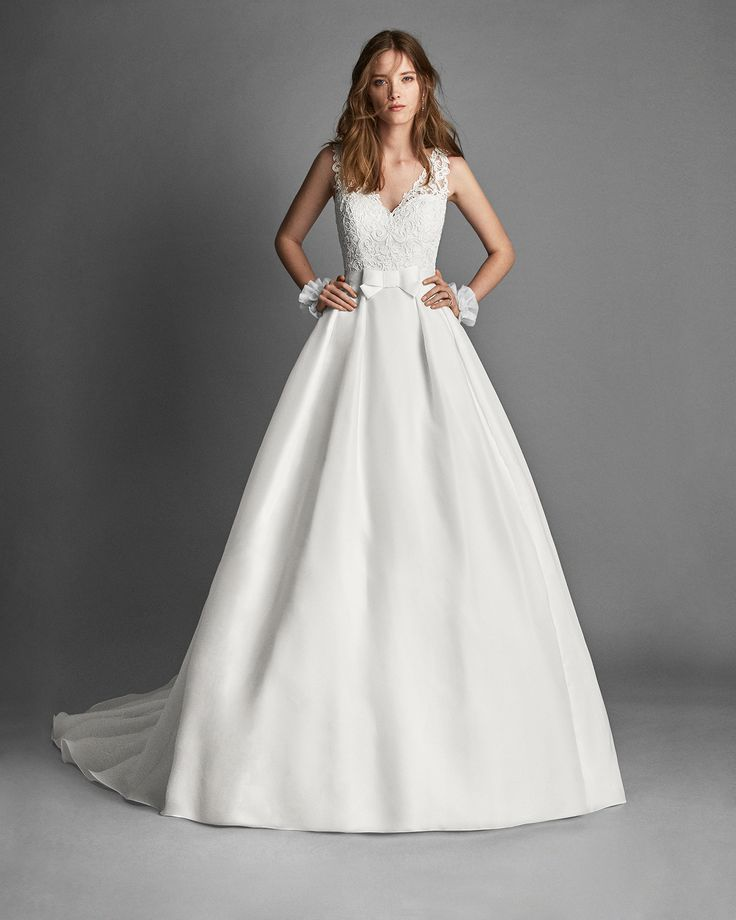 2018 Alma Novia Collection ROYAL Classic-style gazar and guipure lace wedding dress with lace back.