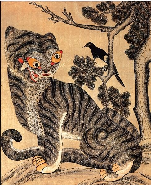 Traditional Korean Tiger And Magpie