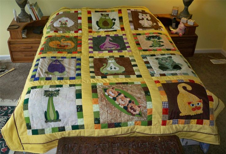 Corey Priddy made this quilt using Garden Patch Cats patterns from my store:  http://lisasstitchingpost.com/index.php?cPath=129_131_72_63