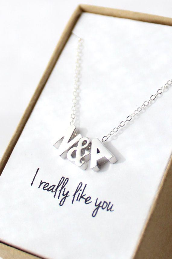 Tiny Initial Necklace  Silver Initial Necklace  by powderandjade