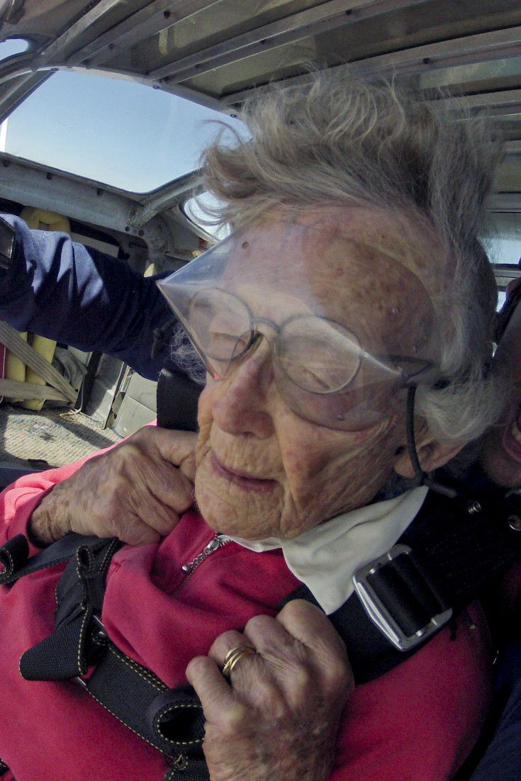 Great-Grandma Celebrates 100th Birthday By Going Skydiving, Swimming With Sharks