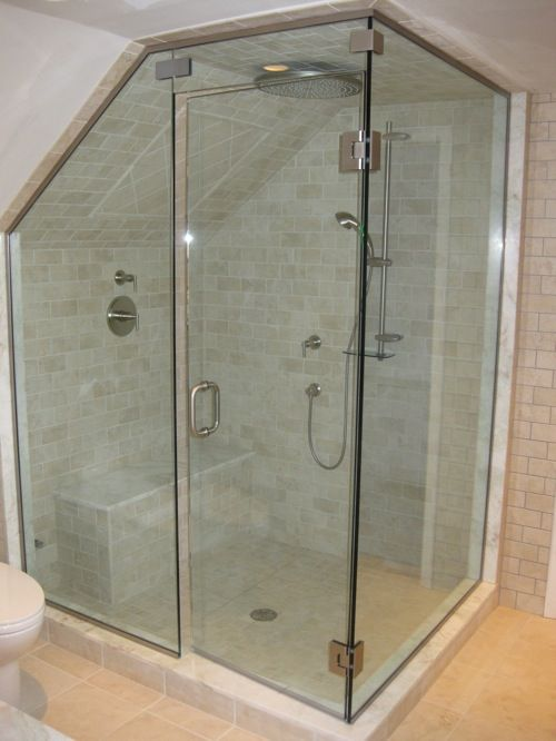 Steam Shower Enclosure from Brewster Glass Shop - I like the tiled angled ceiling -- especially since I would love to enclose existing arched tub surround with walk in steam shower. Tiles on the curved ceiling & custom cut glass--those are not big expenses are they?