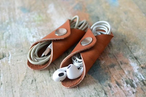 Leather Cord holder. iPhone cable organizer. Handmade. 2 pack.