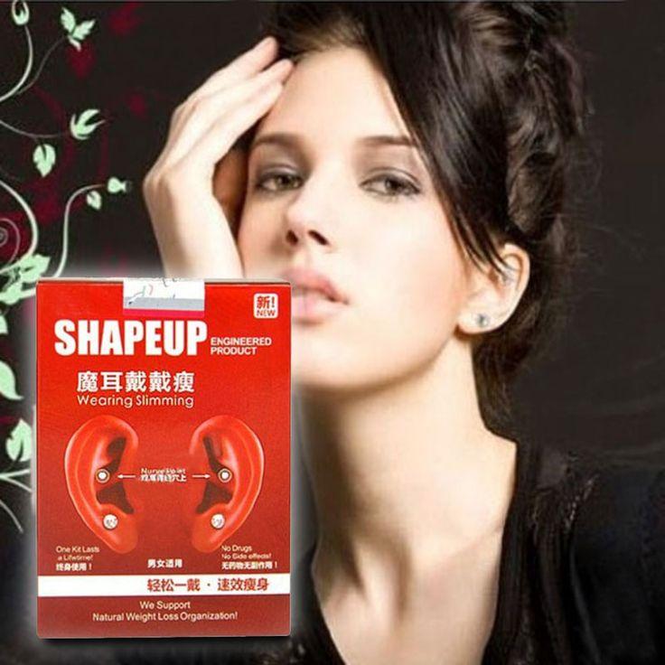 Fashion Women Girls Earrings Magnetic Slimming Ear Stickers Weight Loss Sticker with Rhinestone Stud Earrings