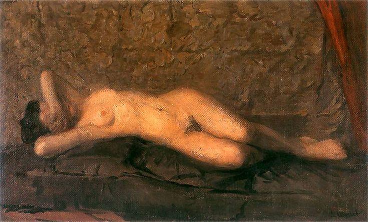 Leon Wyczółkowski (Polish 1852–1936, Warsaw) [Polish Realism, Młoda Polska] Nude, 1908. Oil on canvas. National Museum, Kraków.