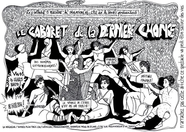 Le CabaReT dE La DerNièRe CHaNcE Le collectif Ô Peuchère! et la Déviation présentent : Le CabaReT dE La DerNièRe CHaNcE (avec des numéros vraiment incroyables) Tout en contribuant à ressusciter le music-hall marseillais autrement que par les traditionnels numéros de dressage de sardines géantes ou des numéros de bulle de savon... https://www.unidivers.fr/rennes/le-cabaret-de-la-derniere-chance/ https://www.unidivers.fr/wp-content/uploads/2017/02/facebook_event_9666