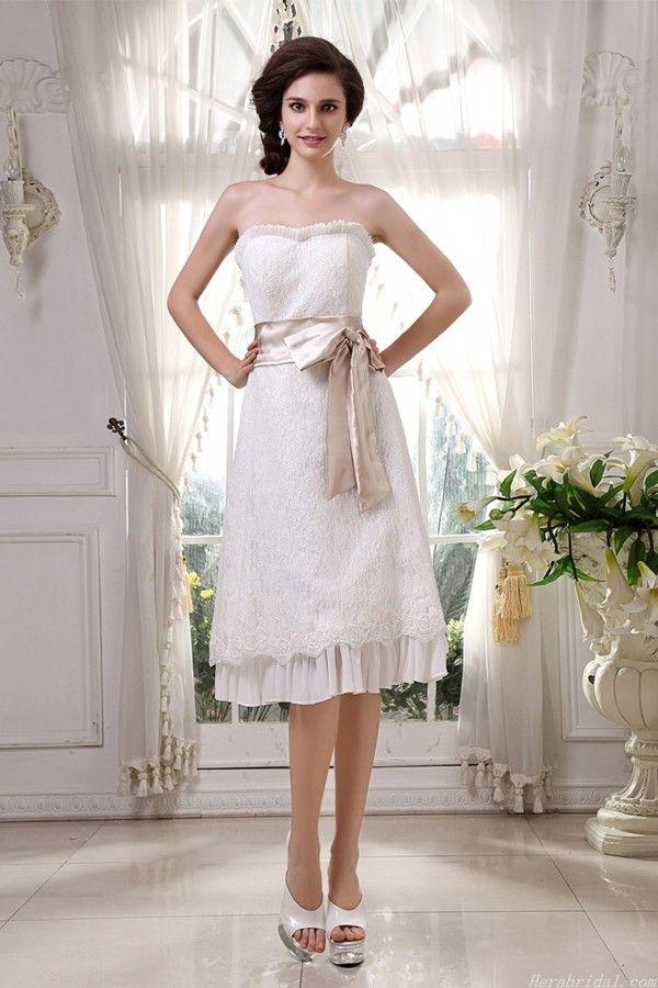 Ruffles Sweetheart Knee Length Lace Short Wedding Dress With Waistband