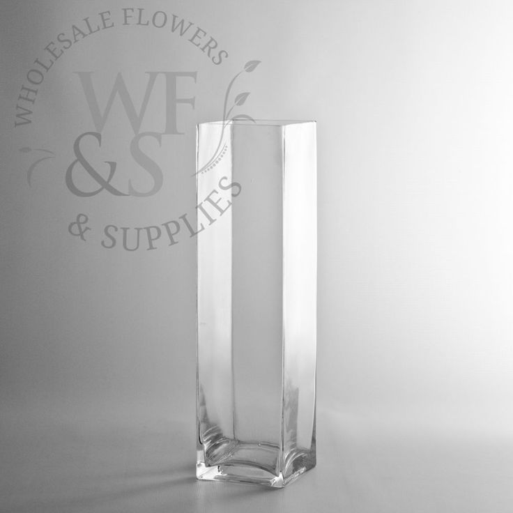 "12"" Tall x 3"" Square Glass Vase - Discount Wholesale Vases and Containers - Wholesale Flowers and Supplies"