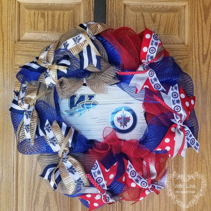 Half hockey and football wreath. Canadian sports teams. Winnipeg blue bombers and Winnipeg jets. Sports wreath. Deco mesh sports wreath.