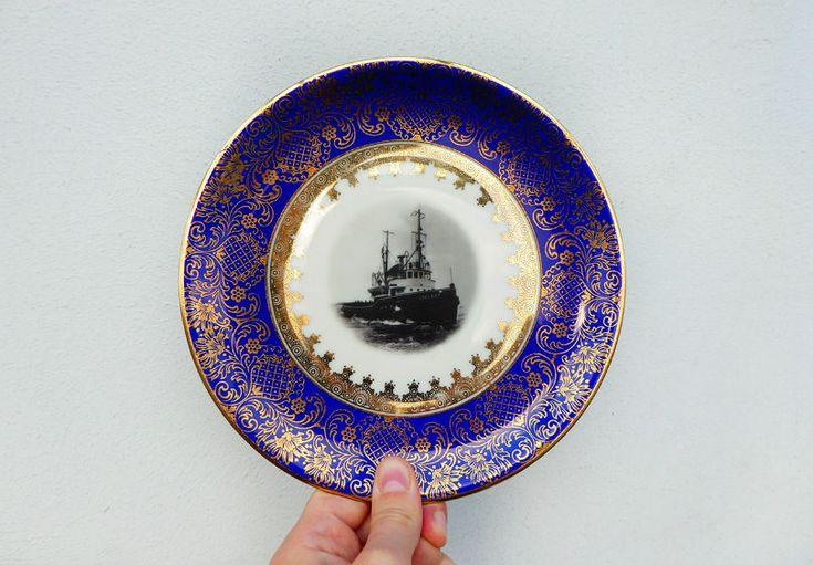 Wand und DekoTeller Vintage Schiff Wandteller blau gold Muster 19cm Unikat Herr Fuchs