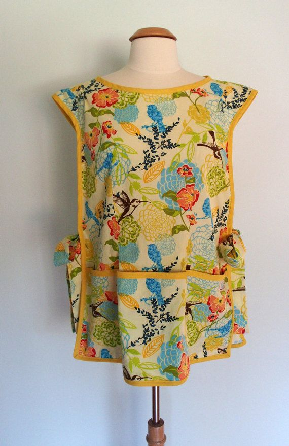 Hummingbird Apron in Yellow, Blue, Lime Green, Cobbler Apron, Over the Head…