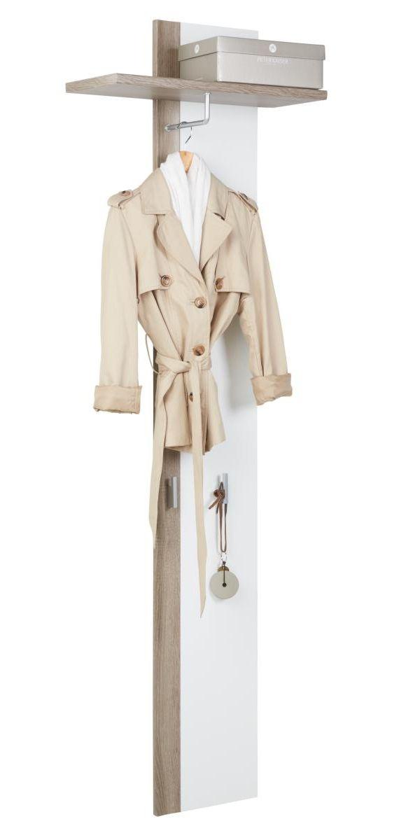 """""""Klädhängare i vitt med detaljer i mörk Sonoma Modellenär försedd med krok, klädstång och"""