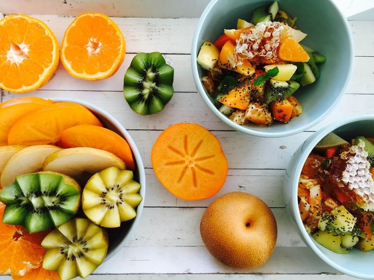 Winter fruit salad with honey comb and chia seeds