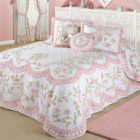 Cottage Charm Grande Bedspread White Cottage Charm Grande Bedspread White      Overview     Details     Sizes     Styling     Swatch     Reviews  Give your bedroom a lovely new look with the Cottage Charm Floral Chenille Grande Oversized Bedspread. The handcrafted, lightweight cotton chenille bedspread has tufted white chenille dots, vining florals in pink and green, and pink scalloped designs on the white top and drop. Bottom has bell-shaped corners. Specify bedspread size: Grande Twin…