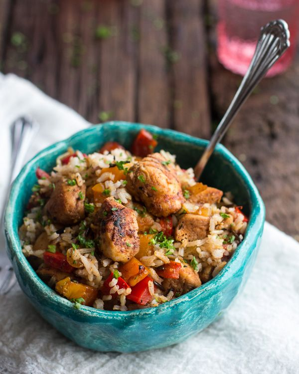 30 Minute Healthy Kickin' Cajun Chicken and Rice.
