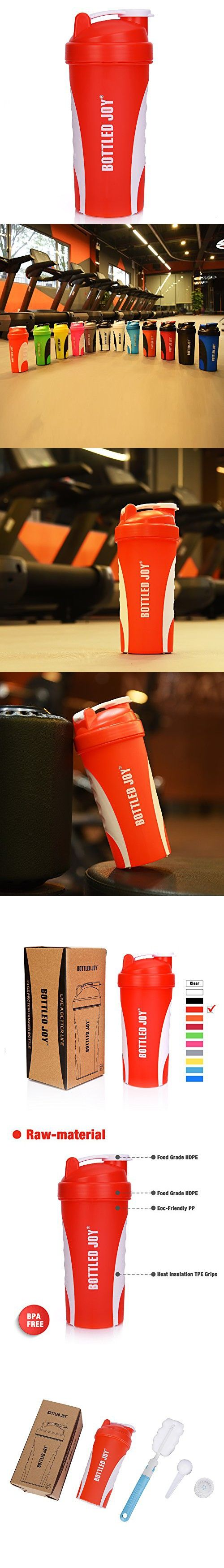 BOTTLED JOY Protein Shaker Bottle, Grip Leak Proof SportMixer Fitness Sports Nutrition Supplements Mix Bottle, Non-slip part 27oz 800ml (Red)