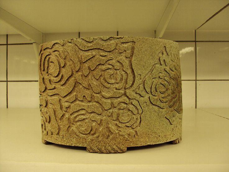 Stoneware vase, dry glaze