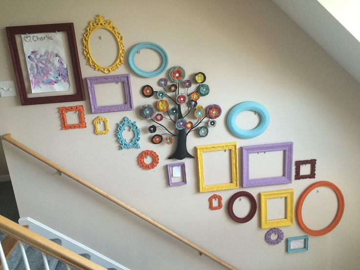 Kid Art Display Wall- White open backed frames painted to match your decor or an art piece. String fishing line between two eye hooks with mini clothes pins to hold your child's art work on display. Use tracings of your frames to get the perfect layout without messing up the wall and use command picture hangers to leave the wall spotless if you want to change it later!