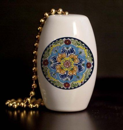 Mexican Talavera Design Flower Porcelain Fan / Light Pull