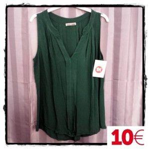 Blusa sin mangas verde botella tablas en cuerpo