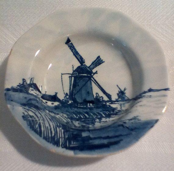 Paar kleine Delft platen voor muur opknoping door GramsRetroGarage