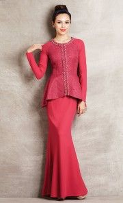 Jacquard Motif Peplum Baju Kurung in Pink