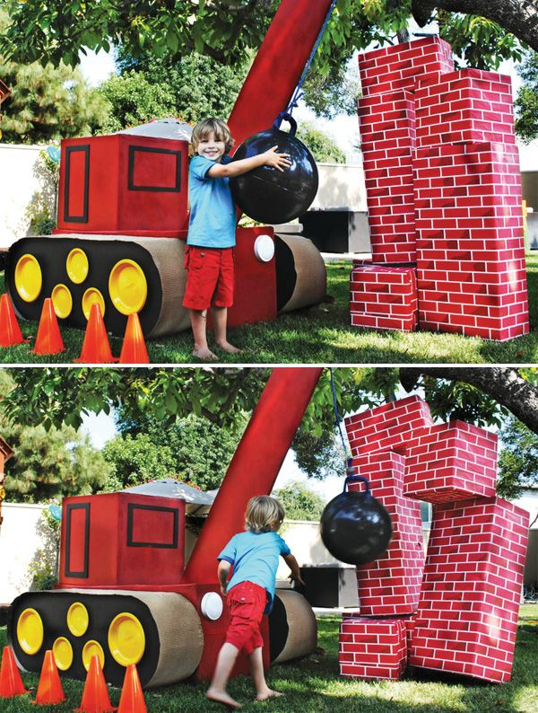 Wrecking ball- complete with building to bust down. How cool is this!!???  Bright and Bold Construction Party (4th Birthday)