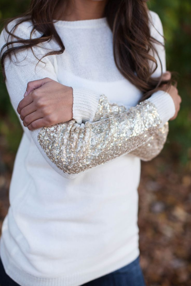 The Pink Lily Boutique - Arm Candy Sequin Sweater Ivory CLEARANCE!!!, $32.00 (http://thepinklilyboutique.com/arm-candy-sequin-sweater-ivory-clearance/)