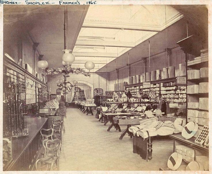 Interior of Farmers Department Store in Sydney in 1865.