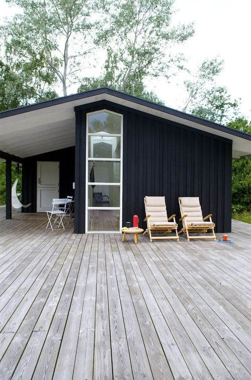 "Scandanavian #summer house! [I like how this seems like a small cabin but the deck is huge. Not enough tiny homes take full advantage of decks and lanscaping to finish the ""scene"".]"
